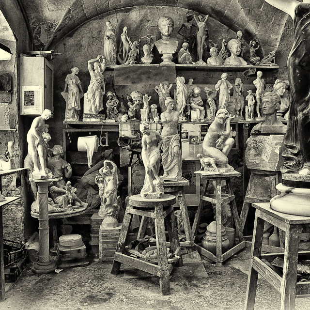"""""""Ancient workshop for processing and sculpture of 'alabaster in the medieval town of Volterra"""" stock image"""