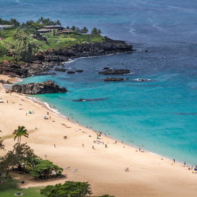 """""""A view of Waimea Bay"""" stock image"""