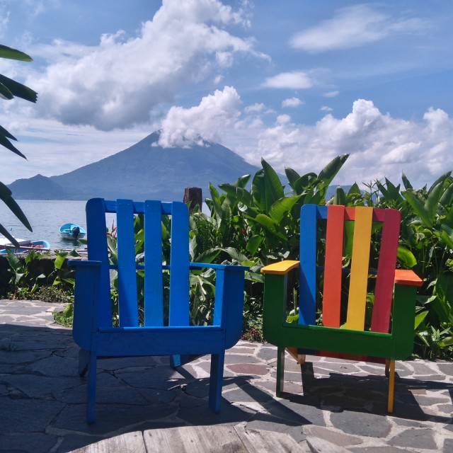 """Colourful Chairs at La Iguana Perdida"" stock image"