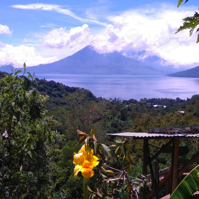 """View of Lake Atitlan from The Yoga Forest, San Marcos"" stock image"