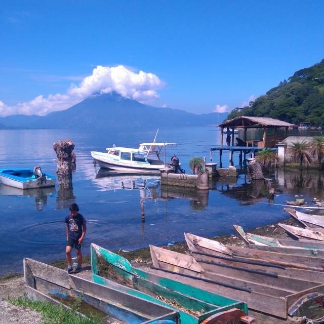 """""""Santa Catarina Palopó's lakefront view"""" stock image"""