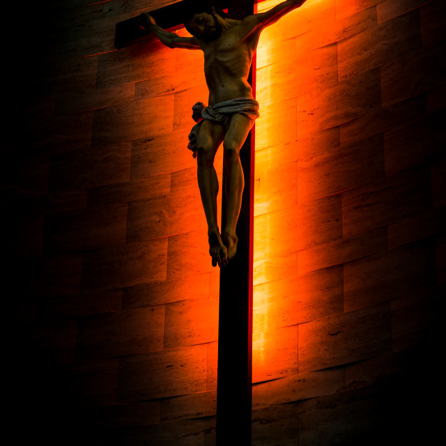 """Crucifix of the Catholic Christian in silhouette."" stock image"