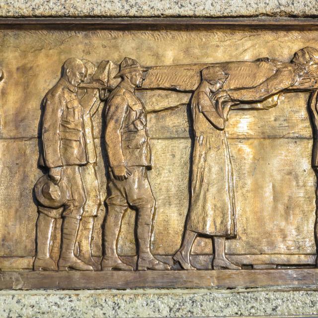 """war memorial frieze detail."" stock image"