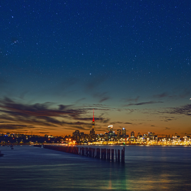 """Colors of Dusk over Auckland Skyline"" stock image"