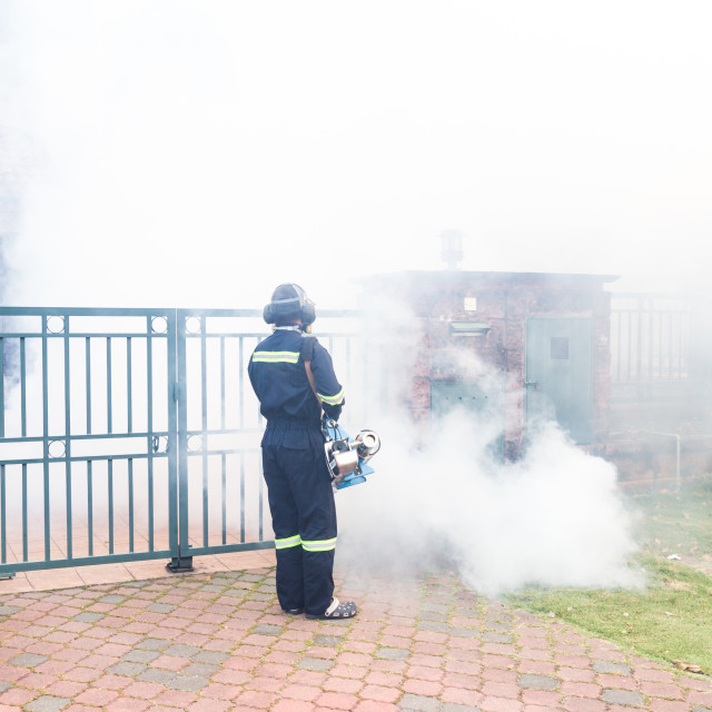 """""""Worker fogging residential area with insecticides to kill aedes"""" stock image"""