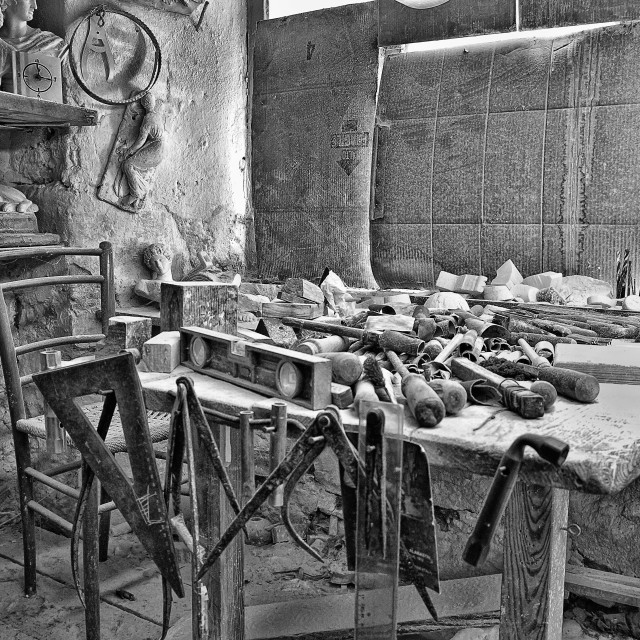 """""""Ancient workshop for processing and sculpture of 'alabaster in the medieval town of Volterra b"""" stock image"""