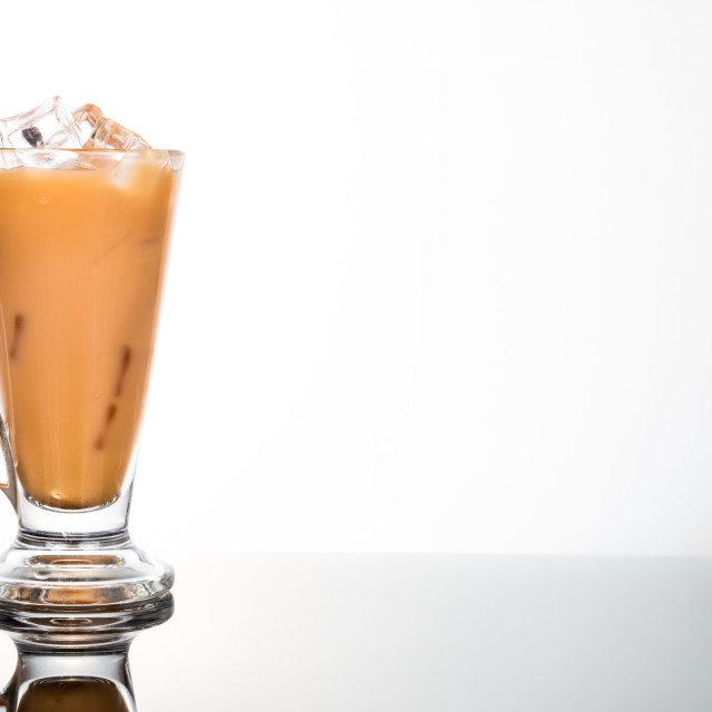 """Iced milk coffee in glass mug"" stock image"