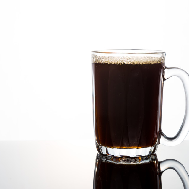 """Black coffee in glass mug"" stock image"