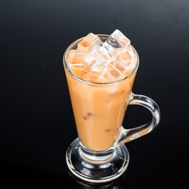 """Iced milk tea in glass mug"" stock image"