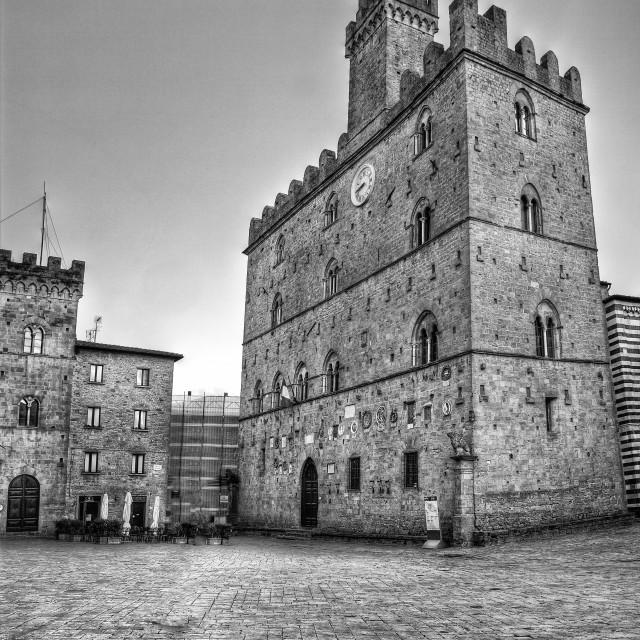 """Volterra italian medieval village square of the priors Monochrome"" stock image"