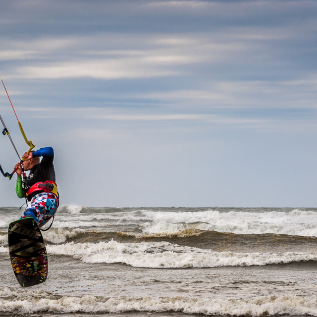 """On-shore winds make it ideal for kite surfing 15 knots of wind nice for practice."" stock image"