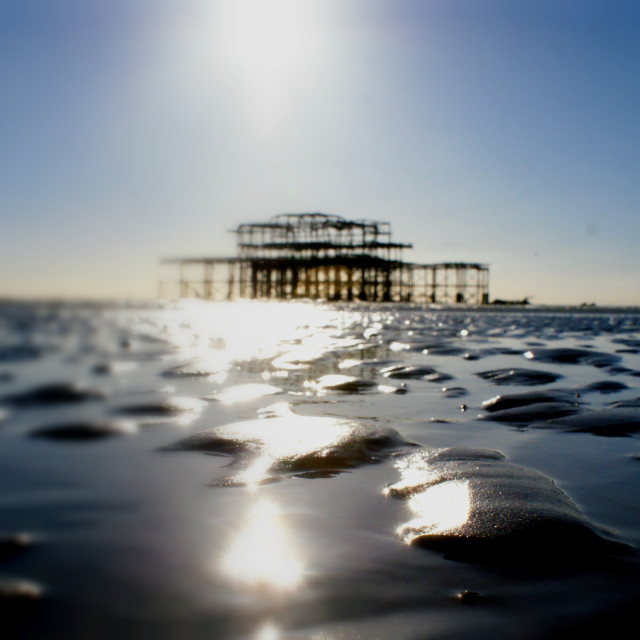 """The West pier at low tide"" stock image"