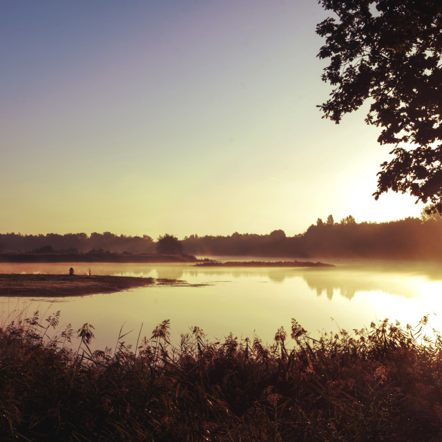 """""""Sunrise at Whisby Lakes, Lincoln"""" stock image"""