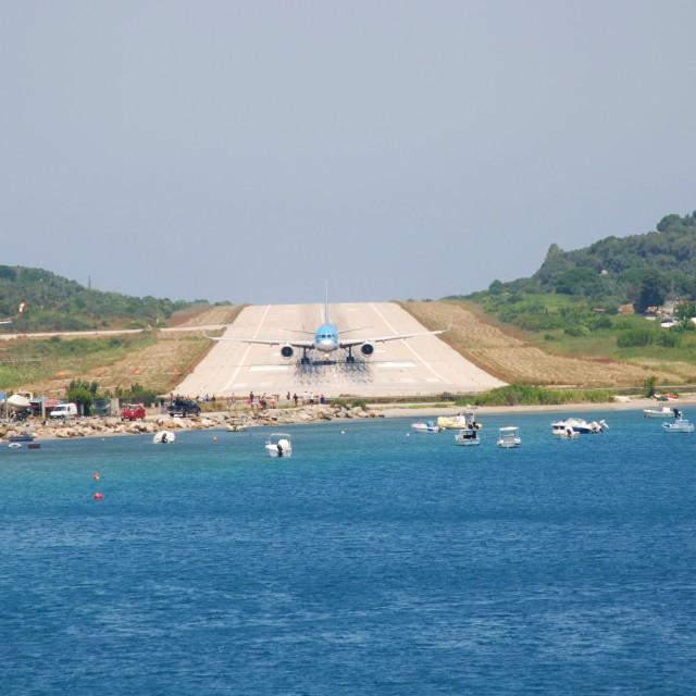 """""""Skiathos airport, Greece"""" stock image"""