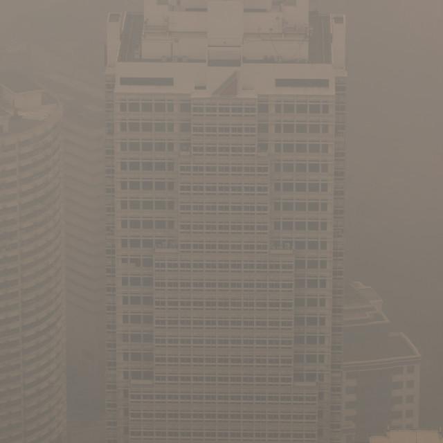 """Air pollution (haze) covering Kuala Lumpur, Malaysia"" stock image"