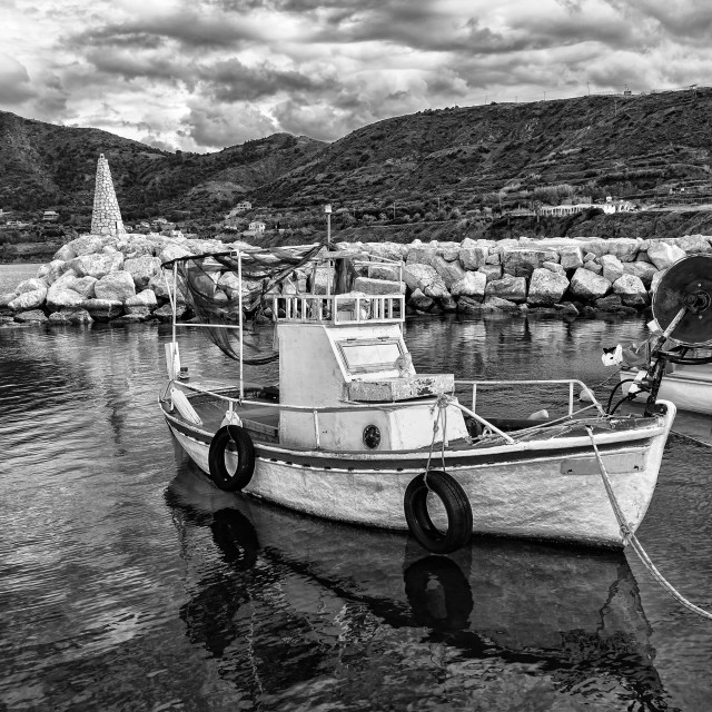 """""""Fishing boat on harbour of Pomos village (Cyprus island) Monocrome"""" stock image"""