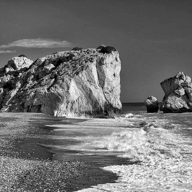 """""""Petra tou Romiou beach Cyprus island Monochrome"""" stock image"""