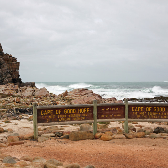 """Sign Cape of Good Hope most southerly point in South Africa"" stock image"