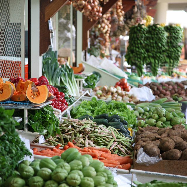 """Fruit and Veg stall at Mercado dos Lavradores Funchal Madeira"" stock image"