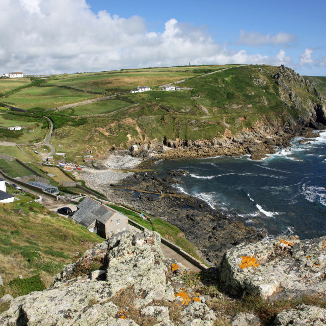 """""""The Sea and headland at Cape Cornwall, Near to Lands End, Cornwall, South West England, UK"""" stock image"""