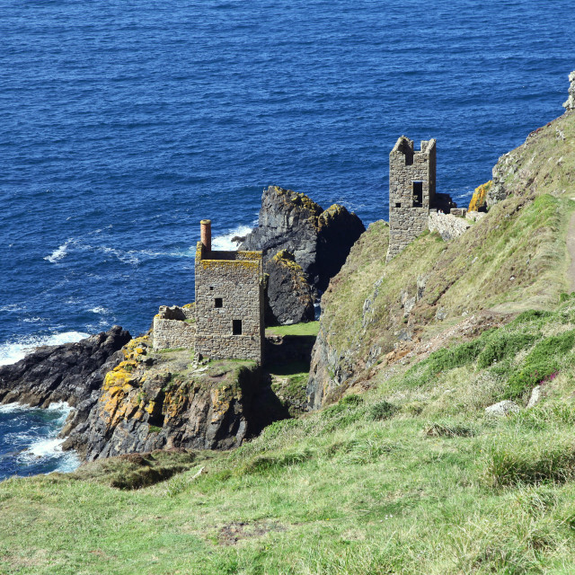 """Crown Mines at Botallack ex-tin mine in Cornwall, England United Kingdom near Land's End"" stock image"
