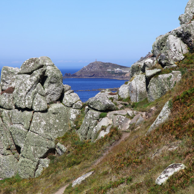 """Cape Cornwall from the long distance South West Coast footpath at Gribba Point, Cornwall, England, UK"" stock image"