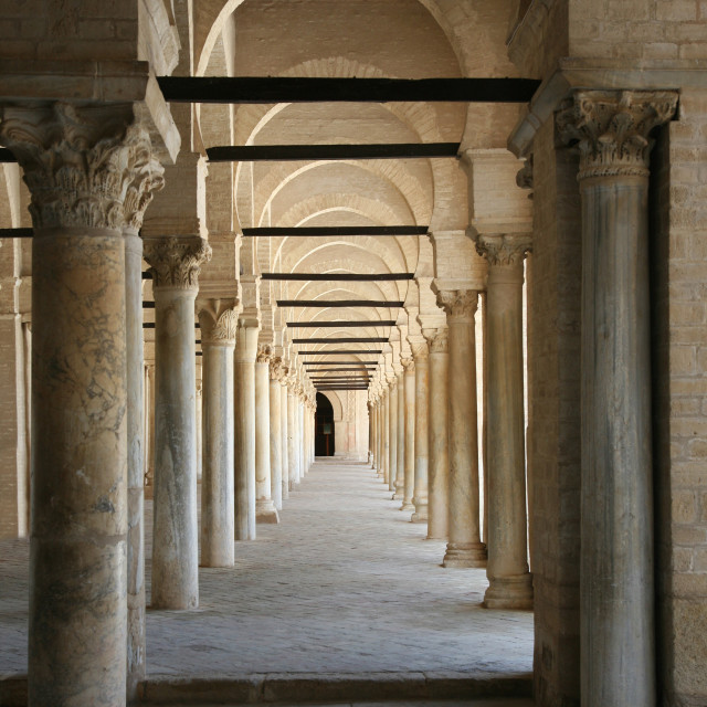 """""""The Mosque of Uqba also known as the Great Mosque of Kairouan Tunisia Africa"""" stock image"""