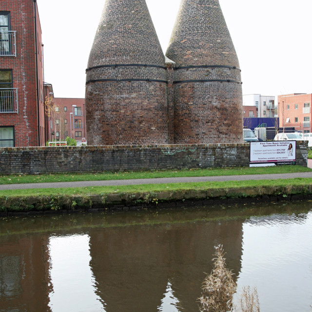 """Preserved bottle ovens or kilns at the former Twyfords Pottery or potbank Shelton, Stoke-on-Trent, Staffs"" stock image"
