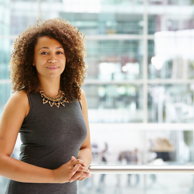 """African American businesswoman portrait, waist up"" stock image"