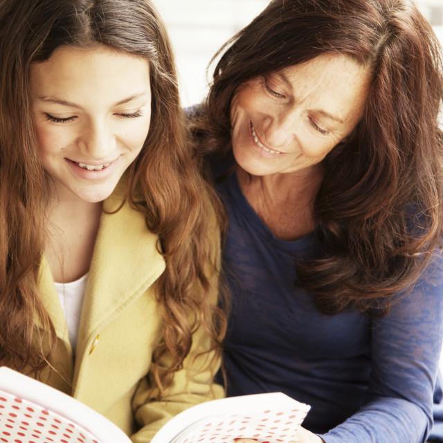 """Girl and grandmother studying"" stock image"