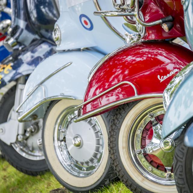 """""""Lambretta and Vespa Scooters"""" stock image"""