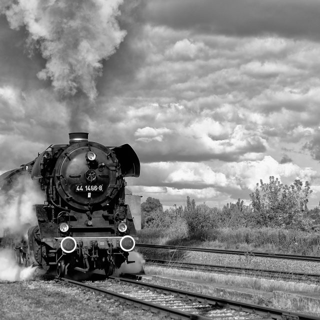 """Steam Locomotive in b/w"" stock image"
