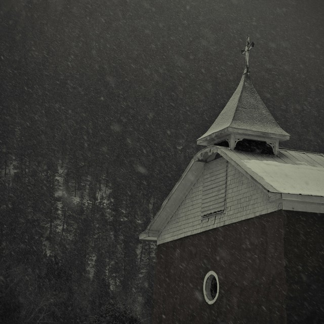 """Chapel in the Snow"" stock image"