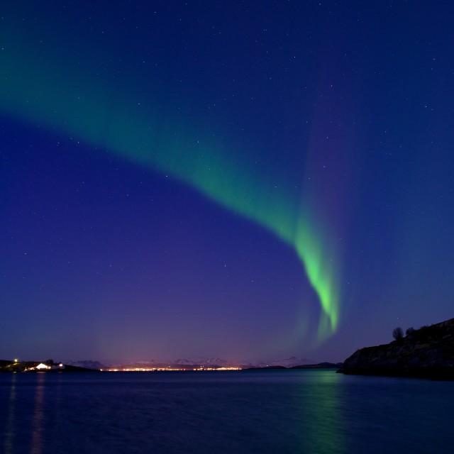 """Northern lights over Bodø"" stock image"