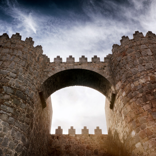 """Colourful Arch of Ávila"" stock image"