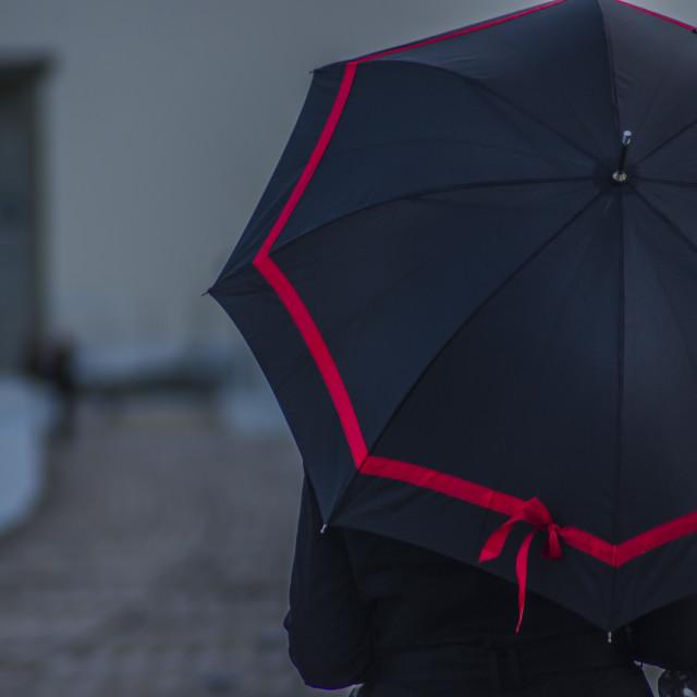"""Walking on a rainy day"" stock image"