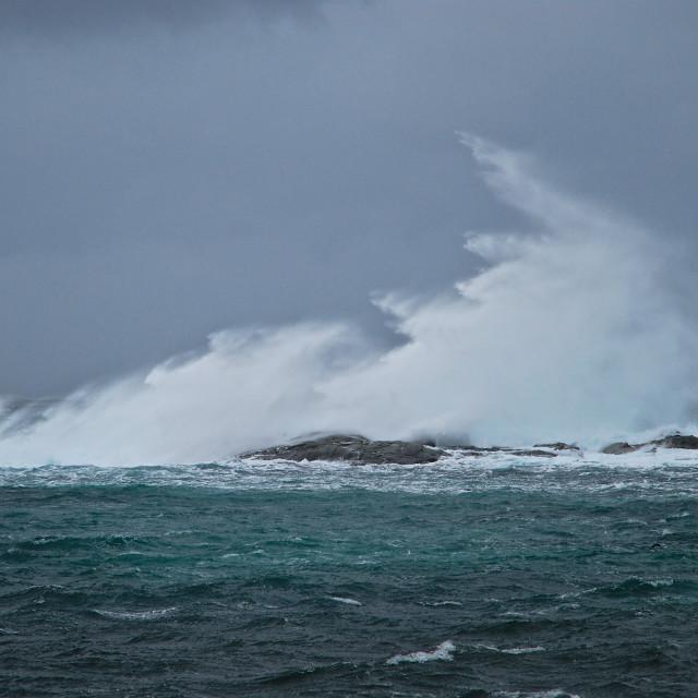 """""""wave hitting land"""" stock image"""
