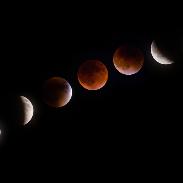 """Supermoon lunar eclipse phases on September 27 2015"" stock image"