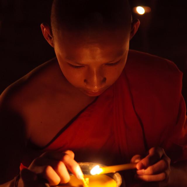 """""""Monk celebrating Loi Krathong"""" stock image"""