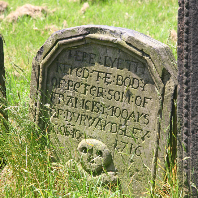 """""""Grave stone or head stone on a burial plot"""" stock image"""