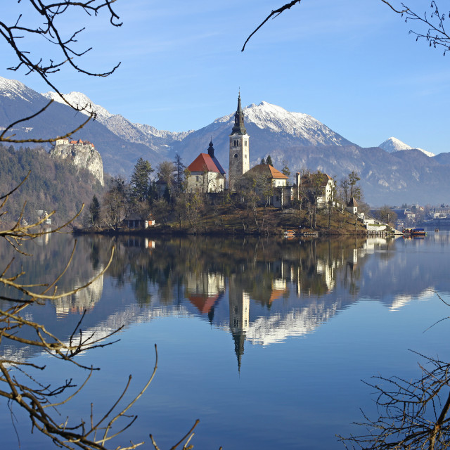 """Pilgrimage Church of the Assumption of Mary on Bled Island and Bled Castle Lake Bled Slovenia"" stock image"