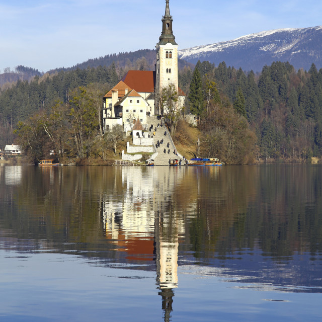 """Pilgrimage Church of the Assumption of Mary on Bled Island Lake Bled Slovenia"" stock image"