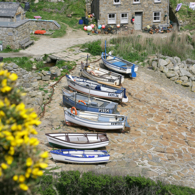 """Penberth Cove is a small village on the Penwith peninsula in Cornwall, England, United Kingdom"" stock image"