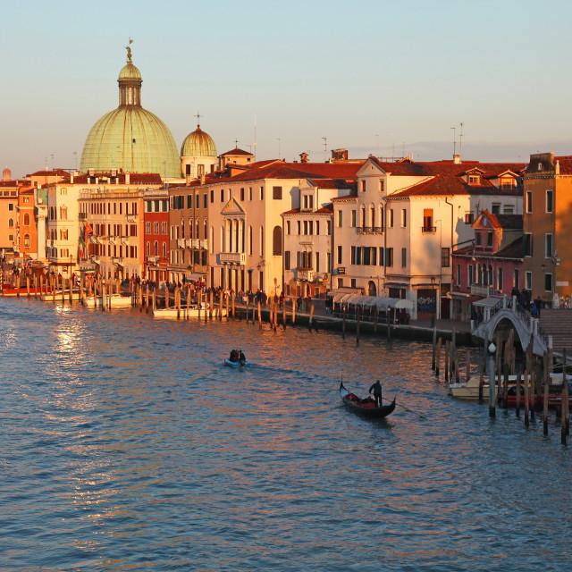 """The church or chiesa basilica of San Simeone Piccolo with the bridge or Ponte degli Scalzi and Gondolas on the Grand Canal Venice Italy"" stock image"