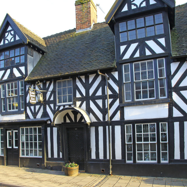 """""""The black and white Tudor House Tea Rooms in the High Street Cheadle Staffs Staffordshire England UK"""" stock image"""