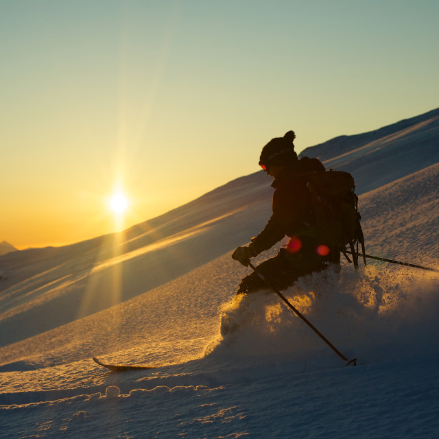 """Skiing down mountain"" stock image"