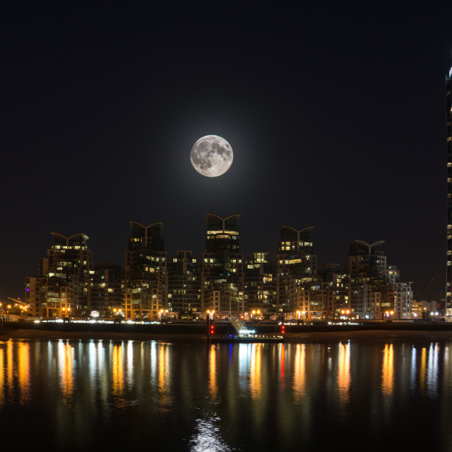 """Super Moon Over Vauxhall"" stock image"