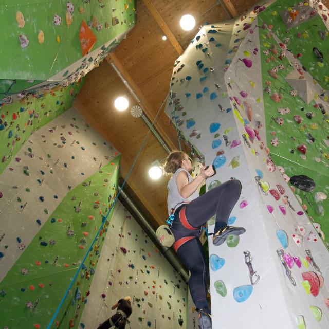 """Climbing indoors"" stock image"