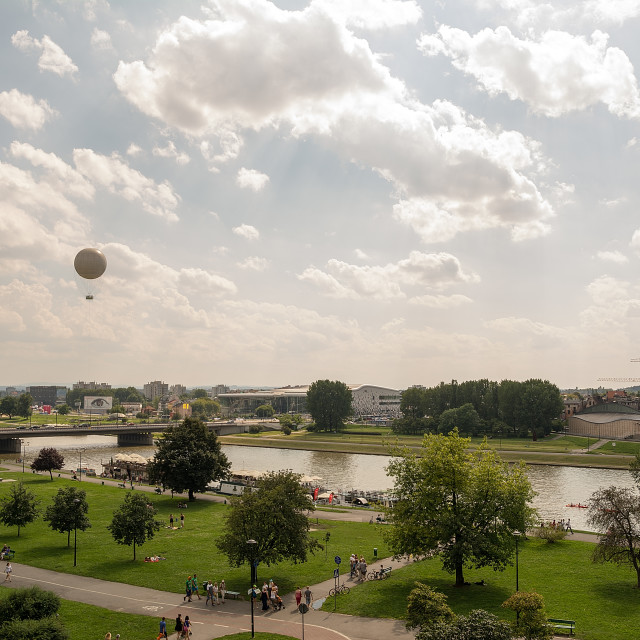 """""""View from the Wawel Hill on the Vistula River (Krakow, Poland)"""" stock image"""