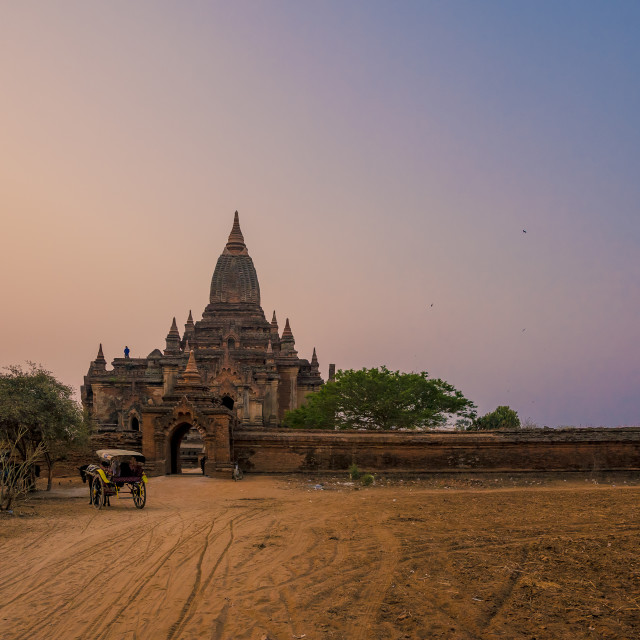 """""""Sunrise on an ancient temple in Bagan, Myanmar"""" stock image"""